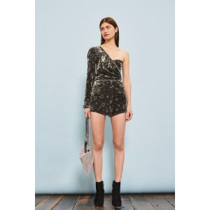 Star Velvet One Shoulder Playsuit - Shop All Black Friday Offers - Sale