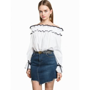 White Ruffled Black Ribbon Off The Shoulder Top