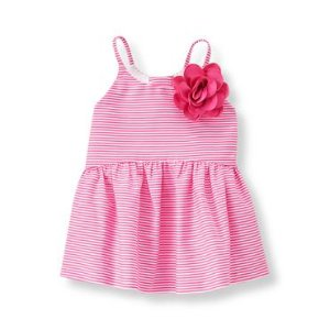 Baby Girl Berry Pink Stripe Striped Peplum Top at JanieandJack