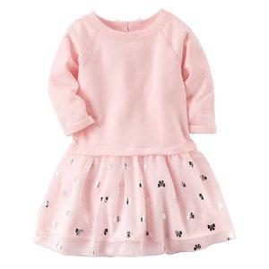 Carter's Long Sleeve Bows A-Line Dress - Toddler Girls