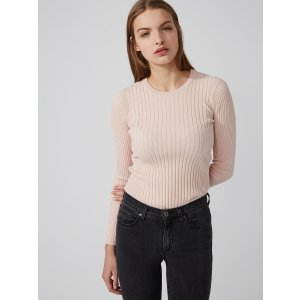 Cotton-Blend Scoopneck Sweater in Rose Smoke | Frank And Oak