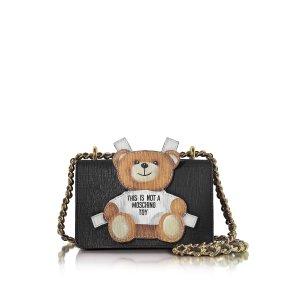 Moschino Teddy Bear Black Saffiano Leather Shoulder Bag