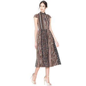Bale Lace Insert Collared Pleated Dress | Alice + Olivia