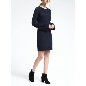 Navy Crochet-Trim Sweater Dress | Banana Republic