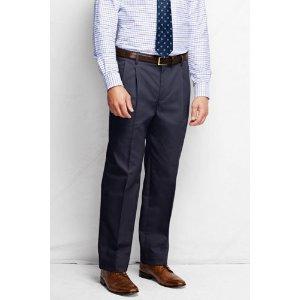 Men's Pre-hemmed Pleat Front Comfort Waist No Iron Chino Pants