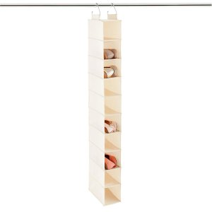 10-Compartment Canvas Hanging Shoe Organizer | The Container Store