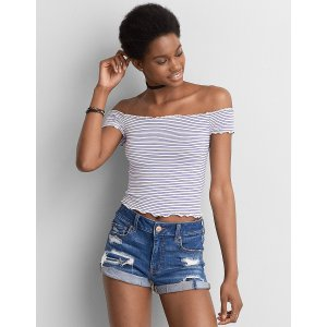 AEO Lettuce Edge Off-The-Shoulder T-Shirt , Black | American Eagle Outfitters