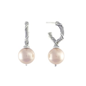 Bead Earrings in pink sea shell pearls and sterling silver
