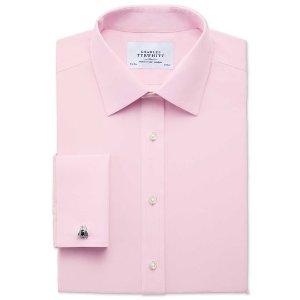 Slim fit non-iron poplin light pink shirt | Charles Tyrwhitt