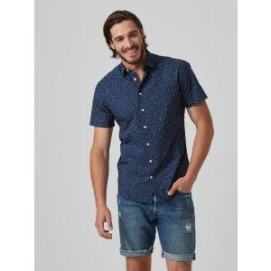Mini-Triangle-Print Poplin-Cotton Shirt in Navy
