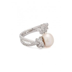Crystal-embellished sterling silver ring