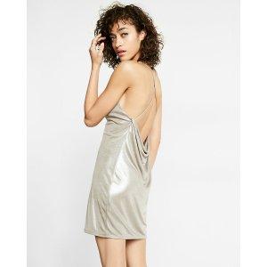 Metallic V-neck Slip Dress