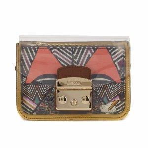 Furla - Borsa A Tracolla Furla Metropolis In Gomma E Pelle Marrone E Gialla - 870759-CRYSTAL/GLA/S, Women's Shoulder Bags | Italist