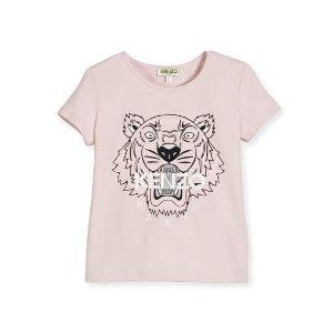 Kenzo Short-Sleeve Stretch Logo Tee, Pink, Size 4-6