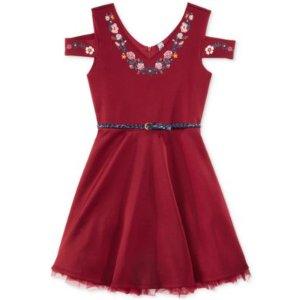 Beautees Embroidered Cold-Shoulder Dress, Big Girls (7-16)