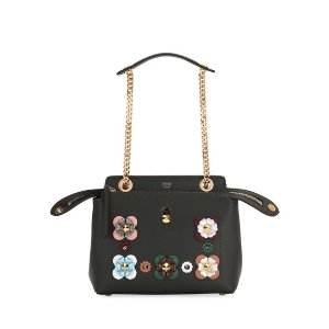 Fendi Dotcom Click Flower Chain Shoulder Bag