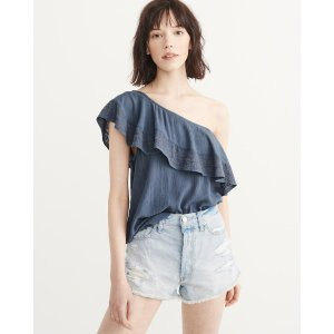 Womens Embroidered One-Shoulder Ruffle Top | Womens Clearance | Abercrombie.com