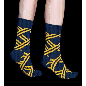 Blue Designer Socks with Yellow Chain Pattern. Colorful Dress Socks at Happy Socks.