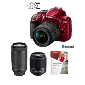 $499Nikon Refurbished D3400 DSLR Camera 3 Lenses