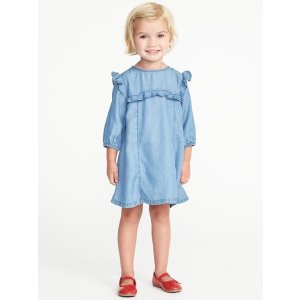 Ruffle-Trim Tencel® Dress for Toddler Girls
