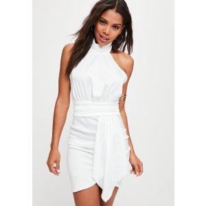 Missguided - White Halter Layer Satin Mini Dress