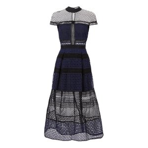 Lace Paneled Navy Midi Dress