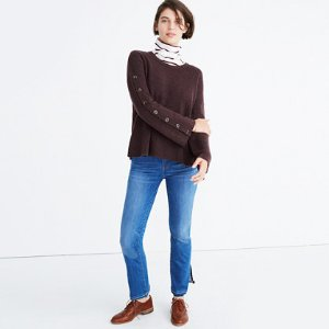 Button-Sleeve Pullover Sweater