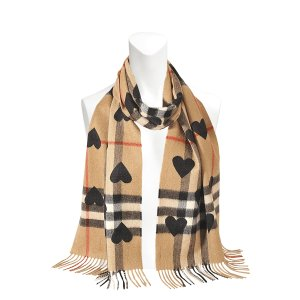 Burberry  Heart Printed Giantcheck cashmere scarf