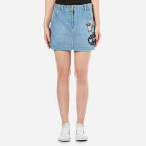 KENZO Women's Stone Washed Denim Patchwork Skirt - Blue - Free UK Delivery over £50