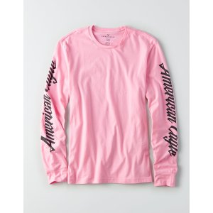 AEO Flex Long Sleeve Graphic Tee, Pink | American Eagle Outfitters