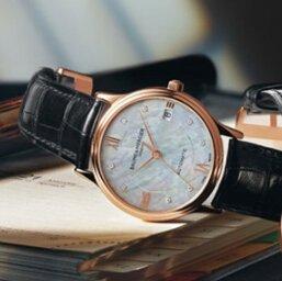 $2095 (原价$5,700) 国内4万6千Baume and Mercier Classima Executives 系列18K 玫瑰金镶钻珍珠母贝机械女表