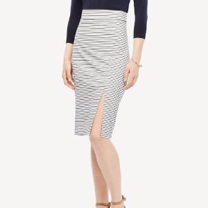 Striped Knit Slit Skirt | Ann Taylor