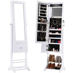 LANGRIA 珠宝收纳可锁穿衣镜橱,白色,带鞋柜