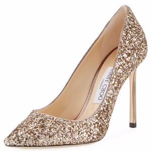 Romy Glitter Pointed-Toe 100mm Pump, Antique Gold