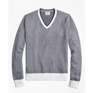 Bird's-Eye Cotton V-Neck Sweater - Brooks Brothers