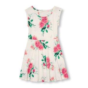 Girls Sleeveless Rose Print Cutout-Back Knit Dress   The Children's Place