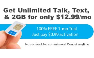 $0.99 + Free ShippingFreedomPop Unlimited Talk, Text, and 2GB LTE 1-mo. Trail