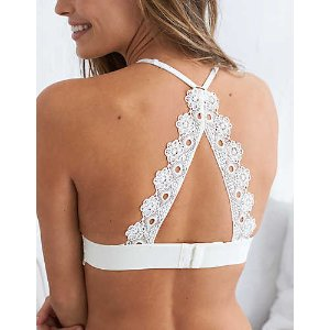 Aerie Hi-Neck Lace Trim Bralette, Soft Muslin | Aerie for American Eagle