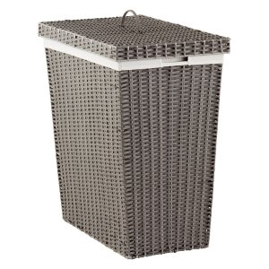 Grey Montauk Rectangular Hamper | The Container Store