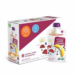 $14.49Happy Baby Organic Stage 2 Baby Food, Simple Combos, Bananas, Beets & Blueberries, 4 Ounce, 8 count (Pack of 2)