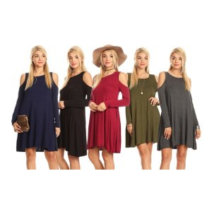 Nelly Women's Cold Shoulder Dress (Plus Sizes Available)