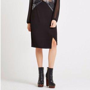 Pull-On Front-Slit Midi Skirt