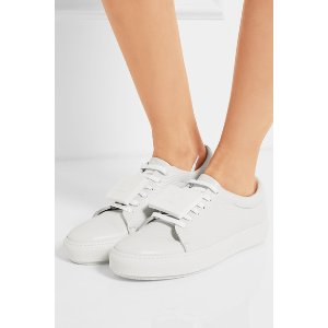 Adriana plaque-detailed textured-leather sneakers
