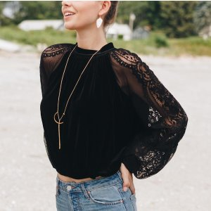 Free People Dream Team Lace and Velvet Long Sleeve Top