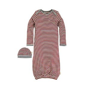 Baby Candy Cane Stripe Organic Cotton Gown & Cap Sleep Set