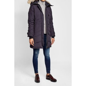 Quilted Down Parka with Fur-Trimmed Hood