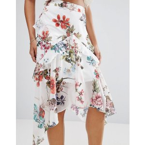 River Island Floral Print Hanky Hem Midi Skirt