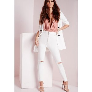 Vice High Waisted Slash Knee Skinny Jeans White | Missguided