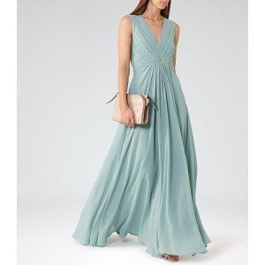 Evie Sea Glass Low-Back Maxi Dress - REISS
