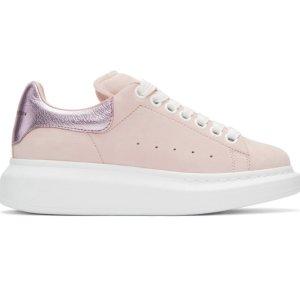 Alexander McQueen Pink Suede Oversized Sneakers @ SSENSE